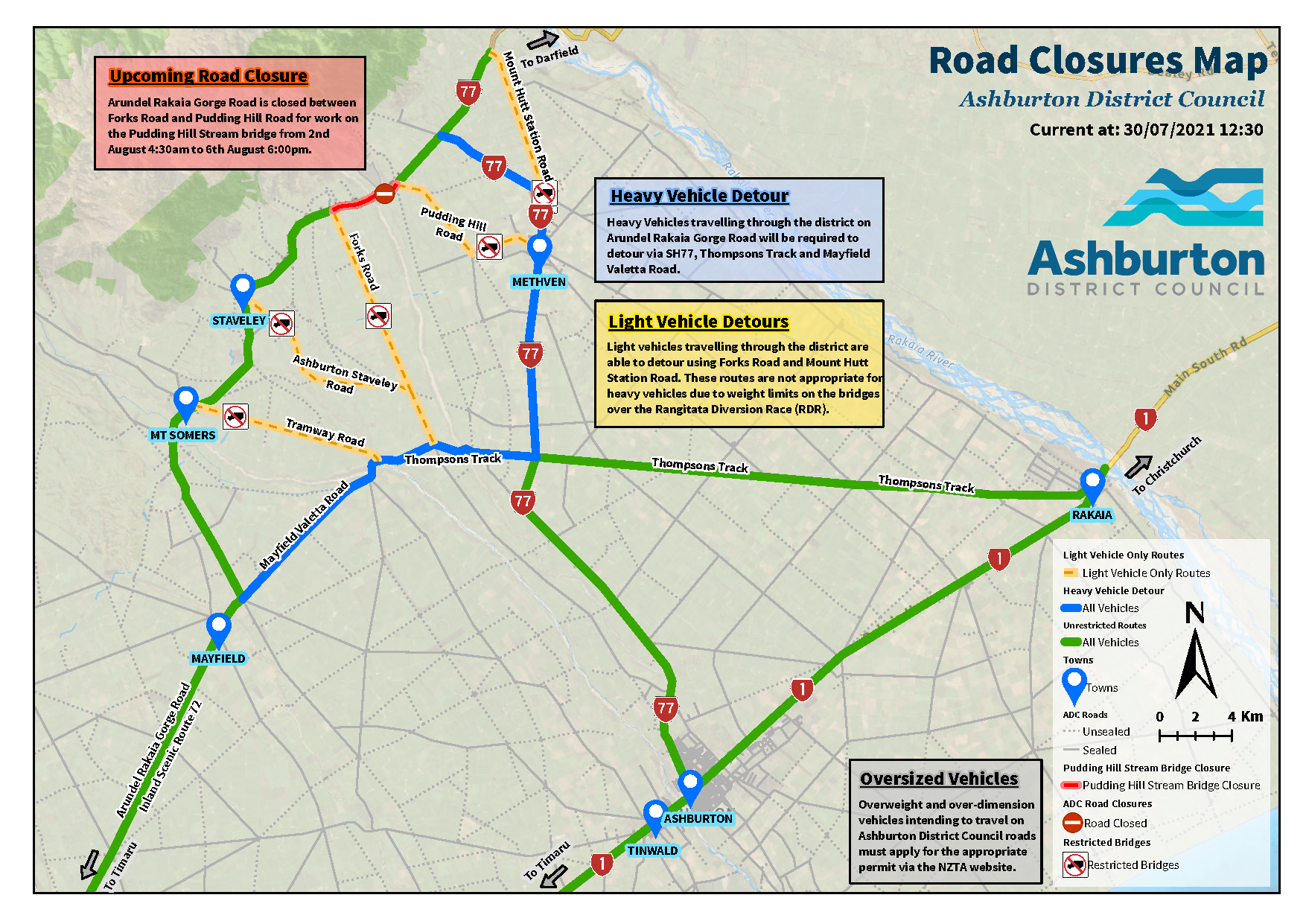 Road closures map for Pudding Hill