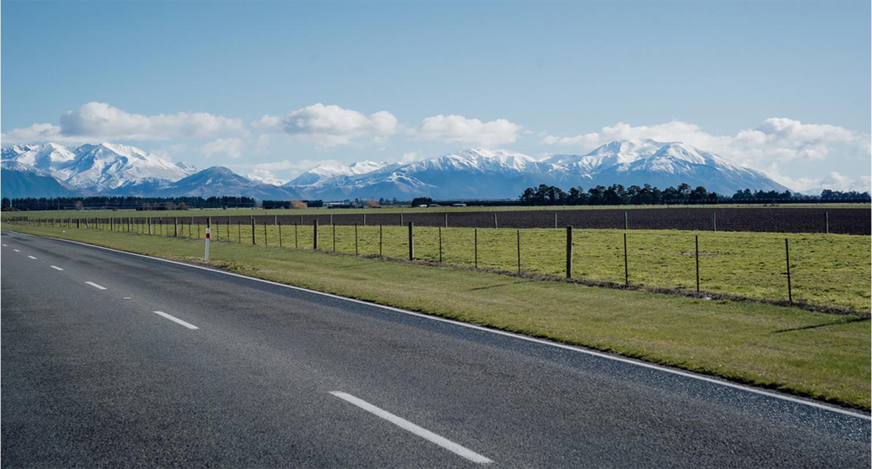 Rural road in Ashburton district