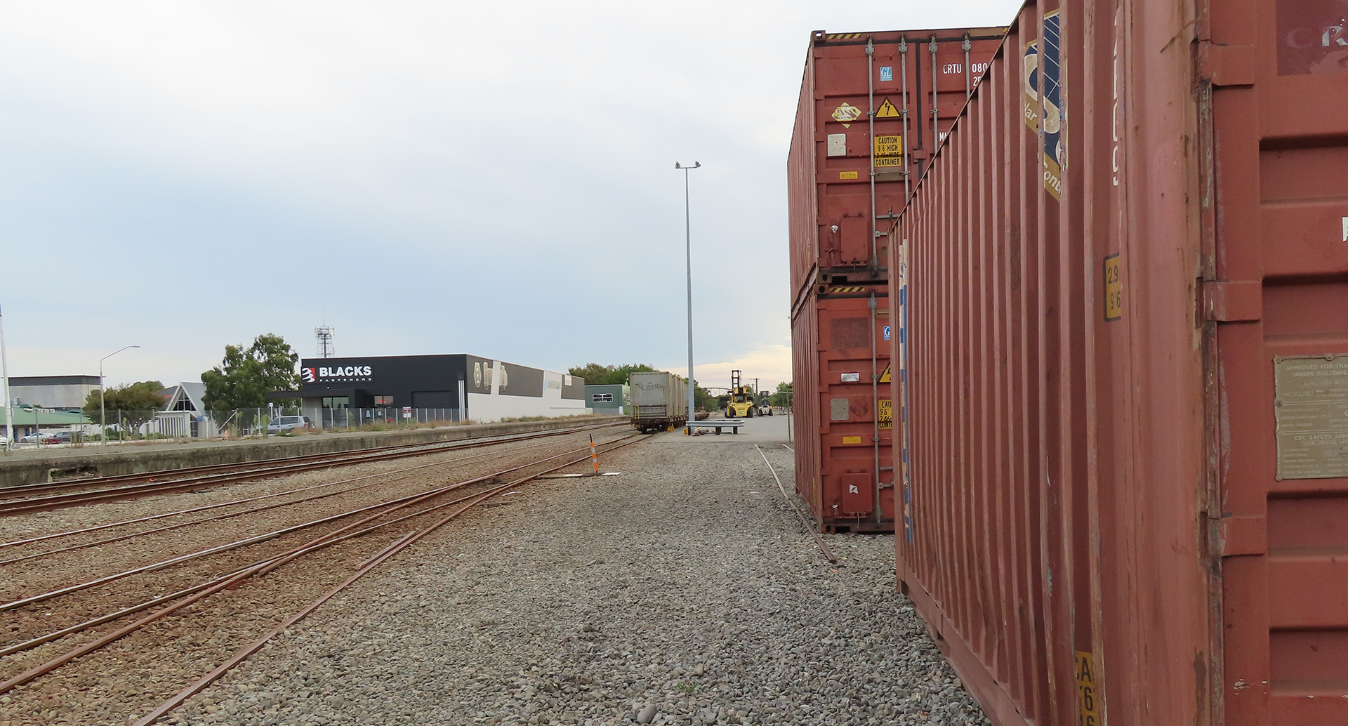 Containers at rail yard