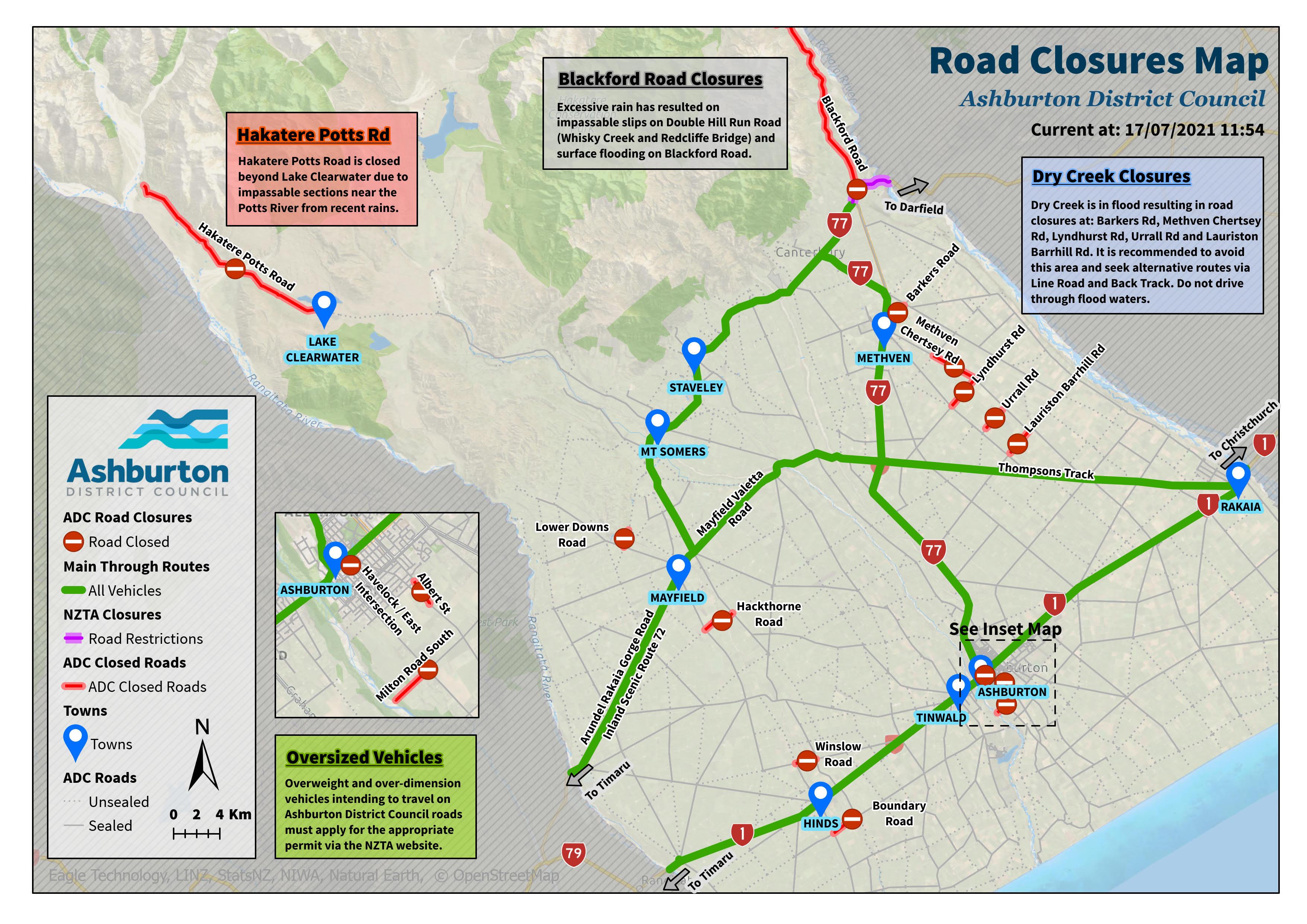 ADC Road Closures Map